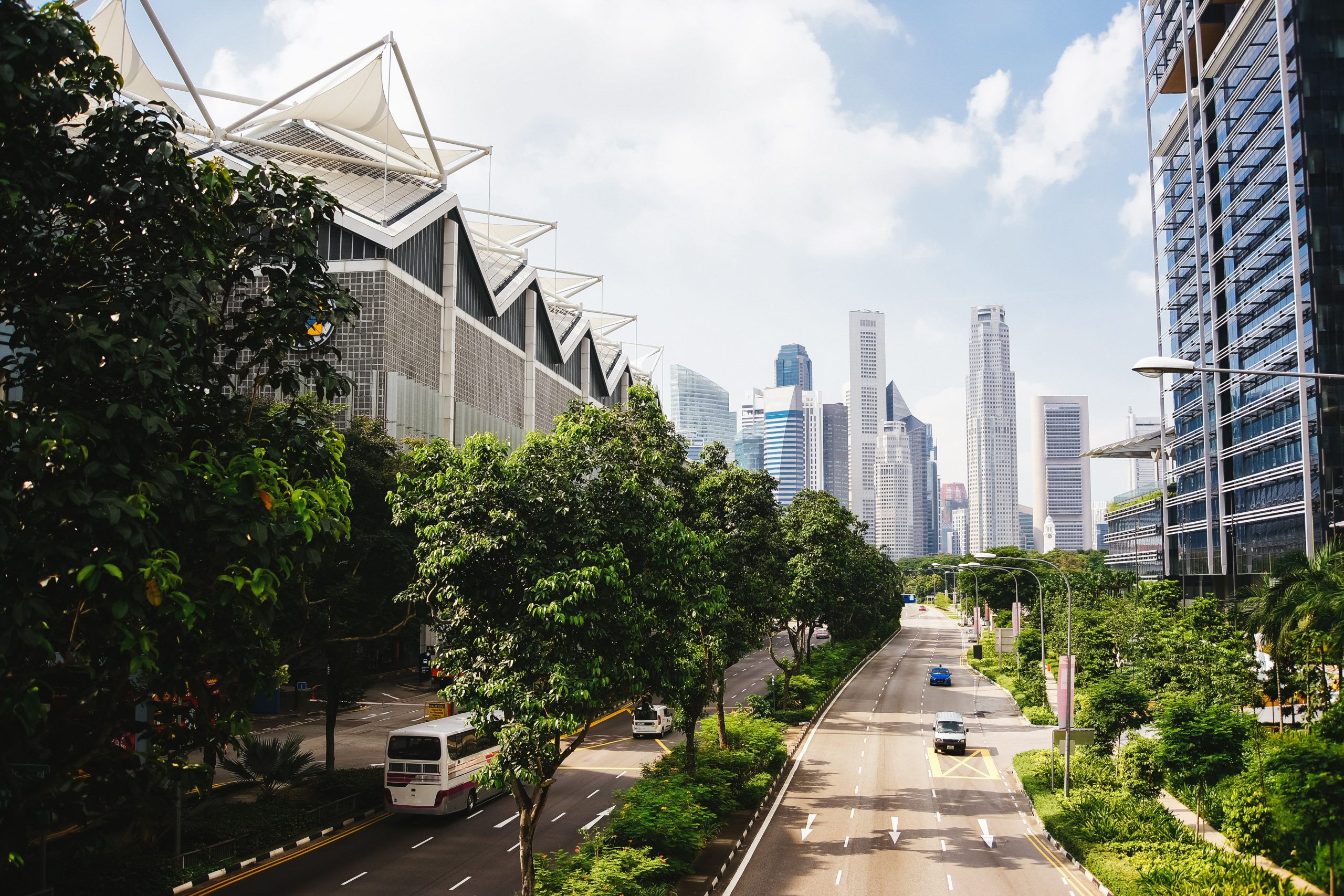 smart city with green landscaping